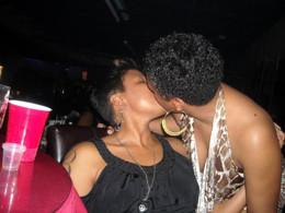 Black lesbian chicks kissing on the..