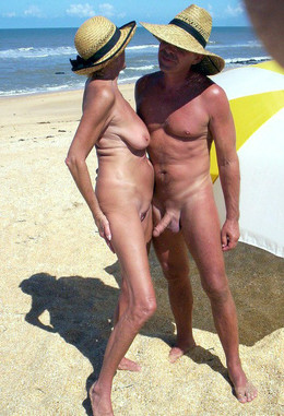 Fully naked pair in the resort town,..