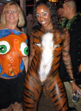 Naked black milf. Body art festival of..