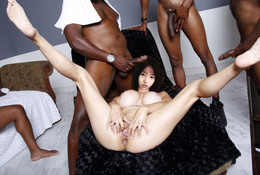 Group black fuckers banging asian..