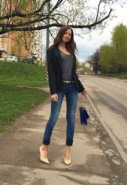 Leggy young woman in high heels
