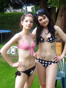 Teens in swimsuits, resort photos