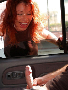 Redhead babe sucks and jerks dick in..
