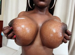 Mega big black boobs - big natural..