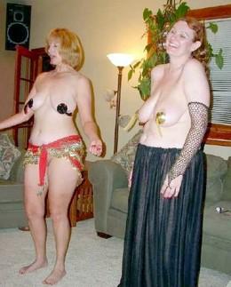 Two dancing mature girlfriends..