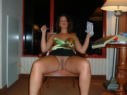 Horny wife spreads her legs apart in a..