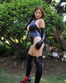 Busty Asian cutie naked in the wood